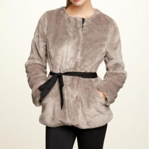 GAP Silver Fox Faux Fur Belted Luxe Coat NWT